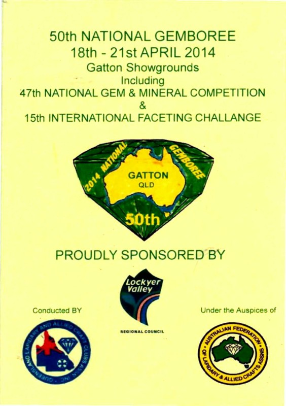 Cover GEMBOREE 2014 Gatton Queensland Booklet